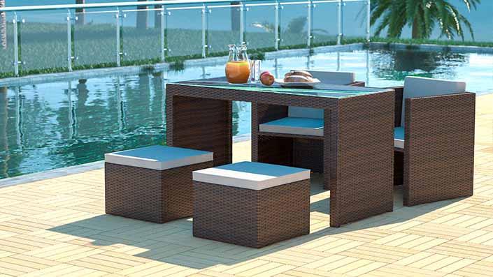 Abelando - Table et chaises résine tressée
