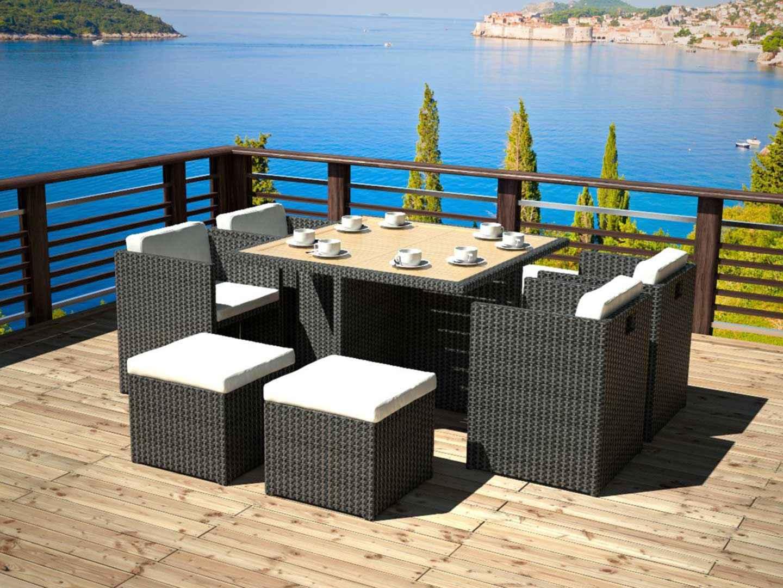 Excellent Table Chaise Jardin Resine Tressee Concernant Arteliafr Ensemble Cubique De Et With