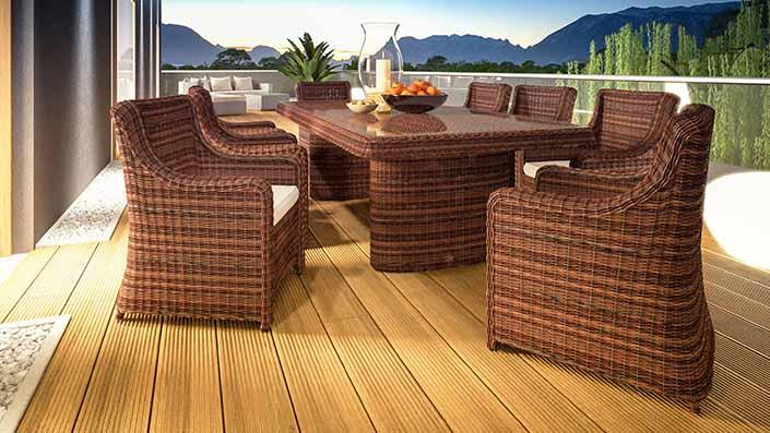 Catalaya XL - Ensemble table et chaises résine tressée