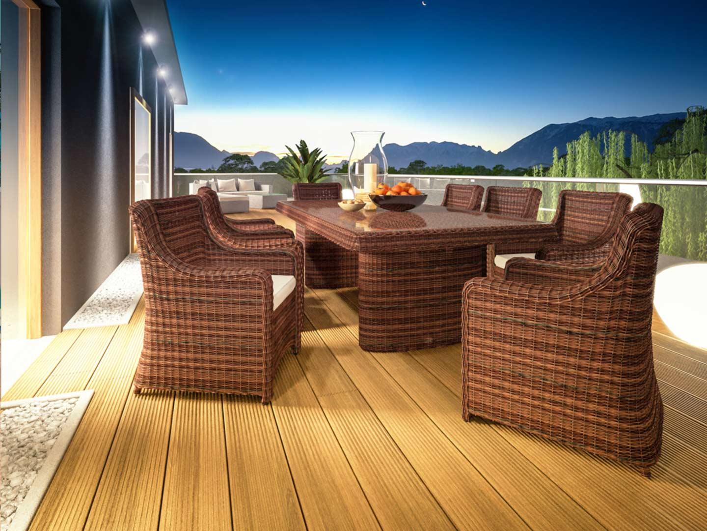 Ensemble table et chaises résine tressée Catalaya XL