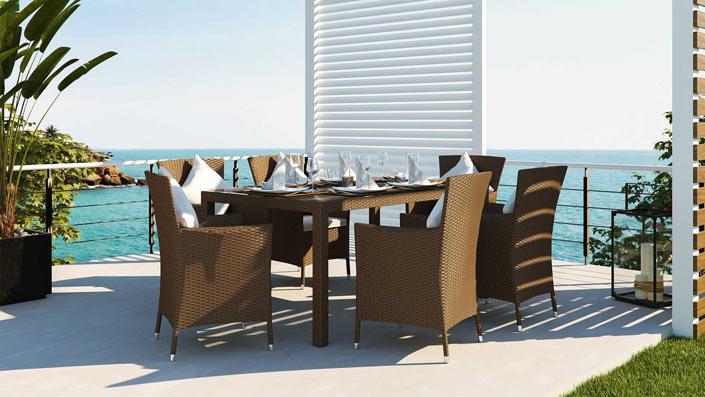 Ceres M - Ensemble table et chaises résine tressée