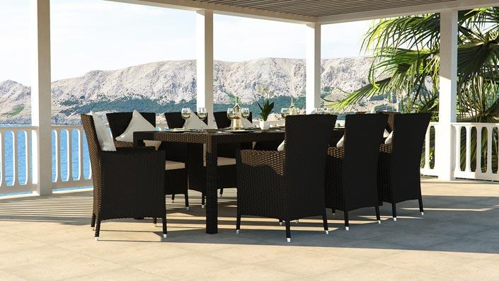 Ceres XL - Ensemble table et chaises résine tressée