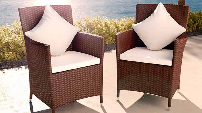 Duo fauteuils résine tressée (gamme Ceres) - Lot de 2 fauteuils/chaises (gamme Ceres)