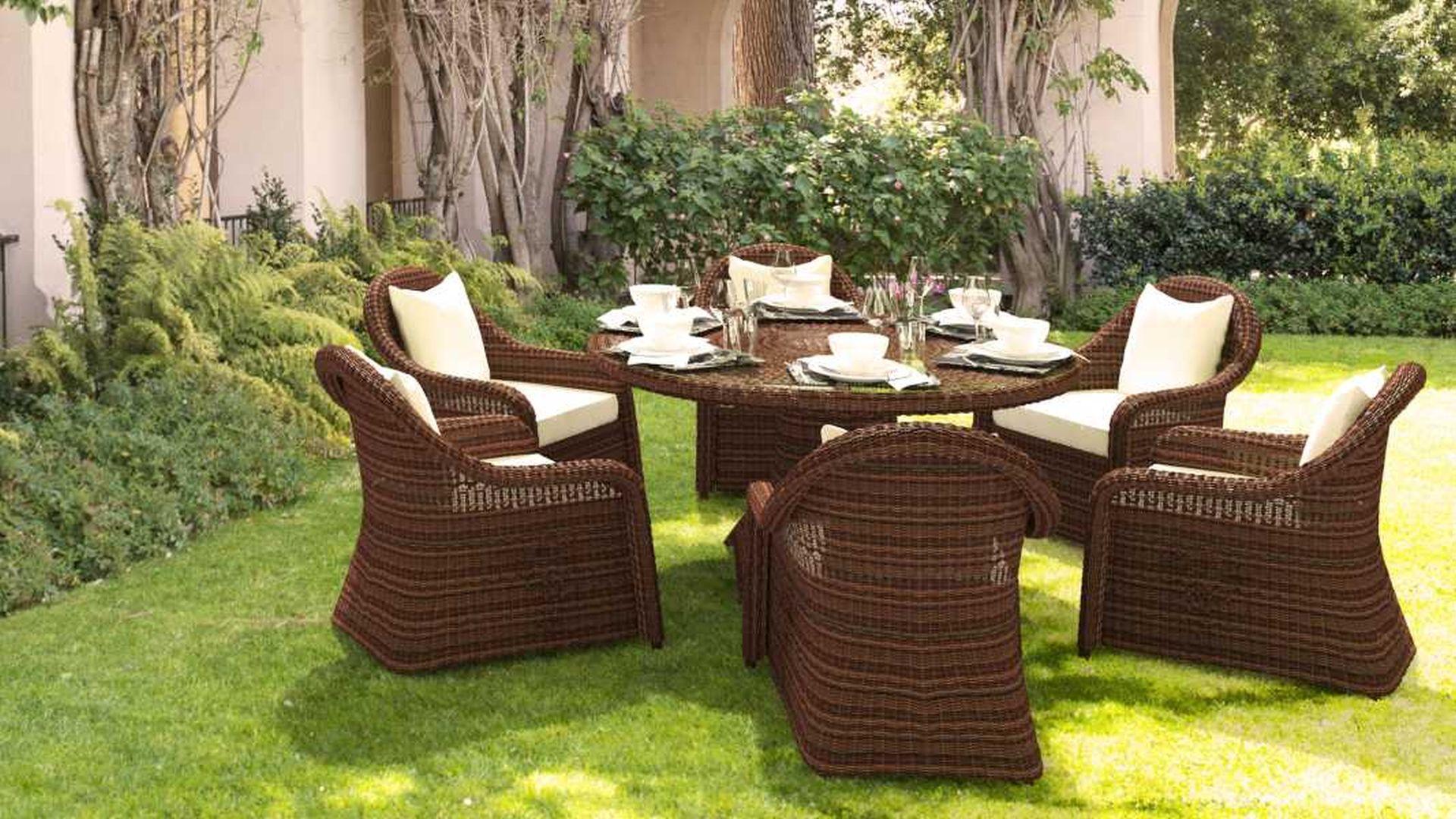 artelia.fr | table et chaises résine tressée ronde pour 6 personnes