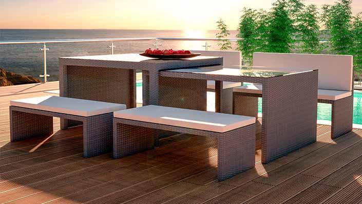 Flamax - Table et bancs résine tressée