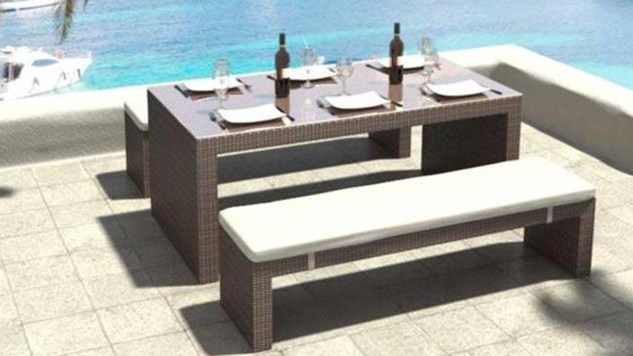 Flammea - Table et bancs résine tressée