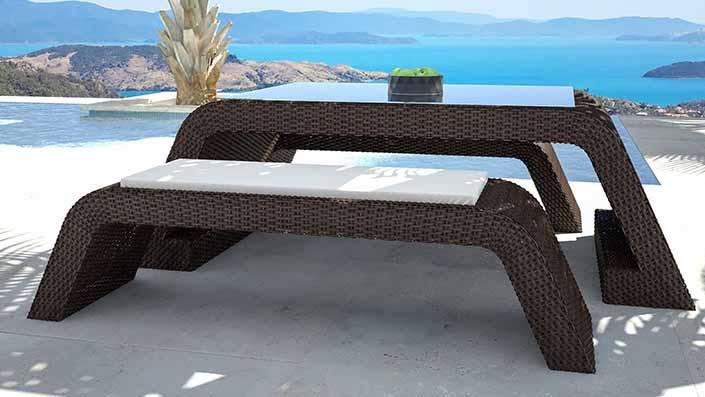Flavia - Table et bancs résine tressée