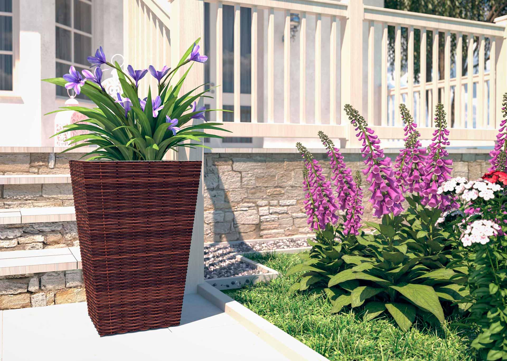 artelia fr pot de fleur en r sine tress e ronde flora m. Black Bedroom Furniture Sets. Home Design Ideas