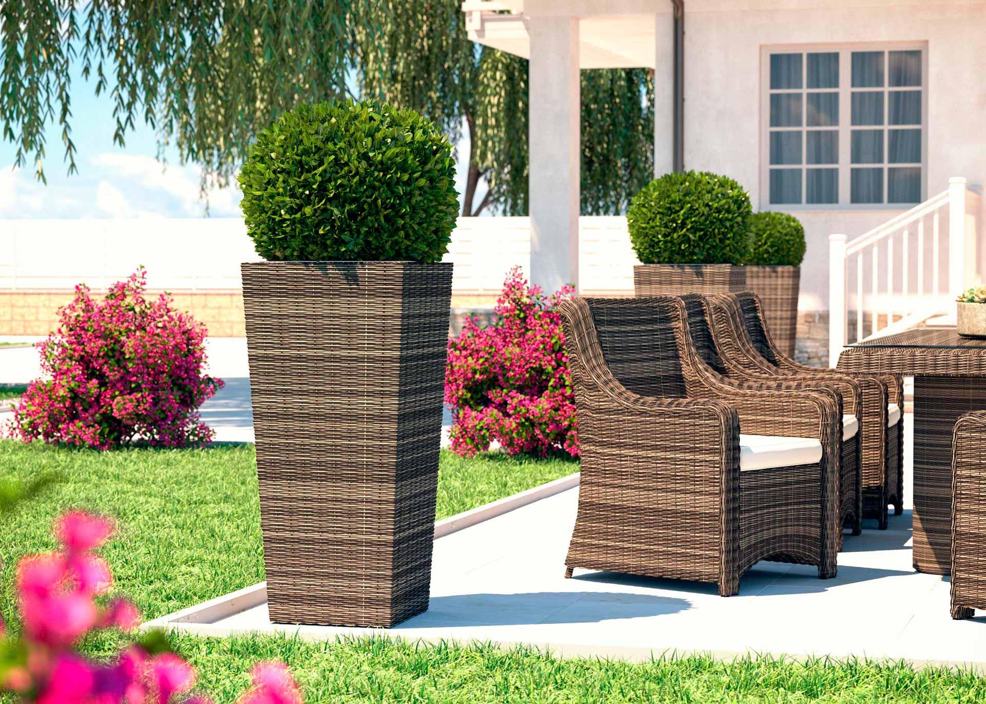 artelia fr pot de fleur en r sine tress e ronde flora xl. Black Bedroom Furniture Sets. Home Design Ideas