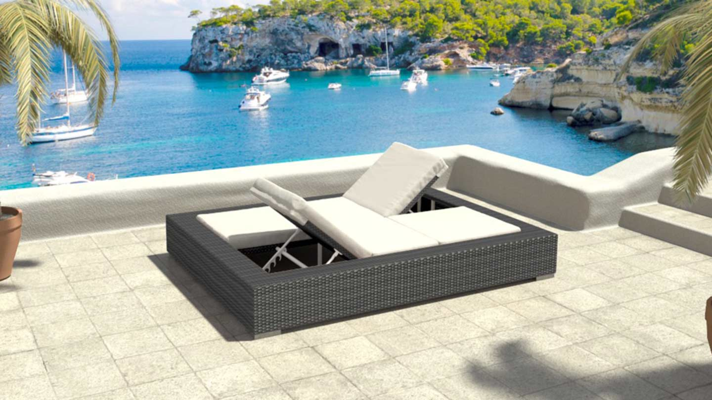 artelia fr bain de soleil double en r sine tress e hypnos. Black Bedroom Furniture Sets. Home Design Ideas