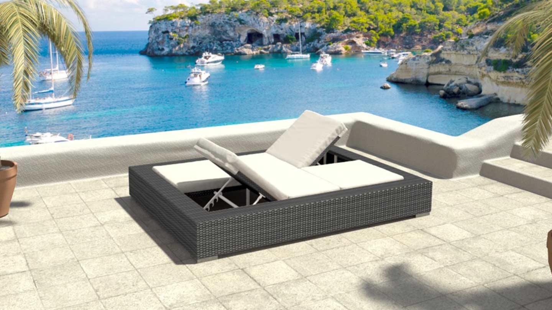 artelia fr bain de soleil double en r sine tress e hypnos. Black Bedroom Furniture Sets. Home Design Ideas