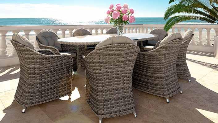 Livia XL - Ensemble table et chaises résine tressée