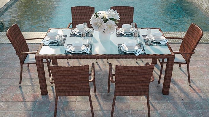 Marzato L - Table et chaises résine tressée