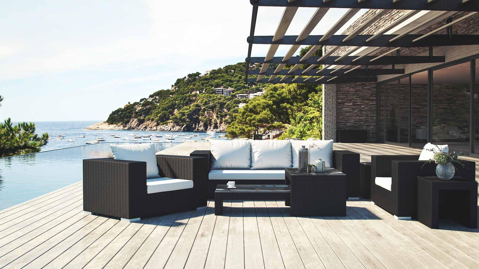 Artelia fr salon de jardin moderne resin tress e matelia for Salon de jardin moderne