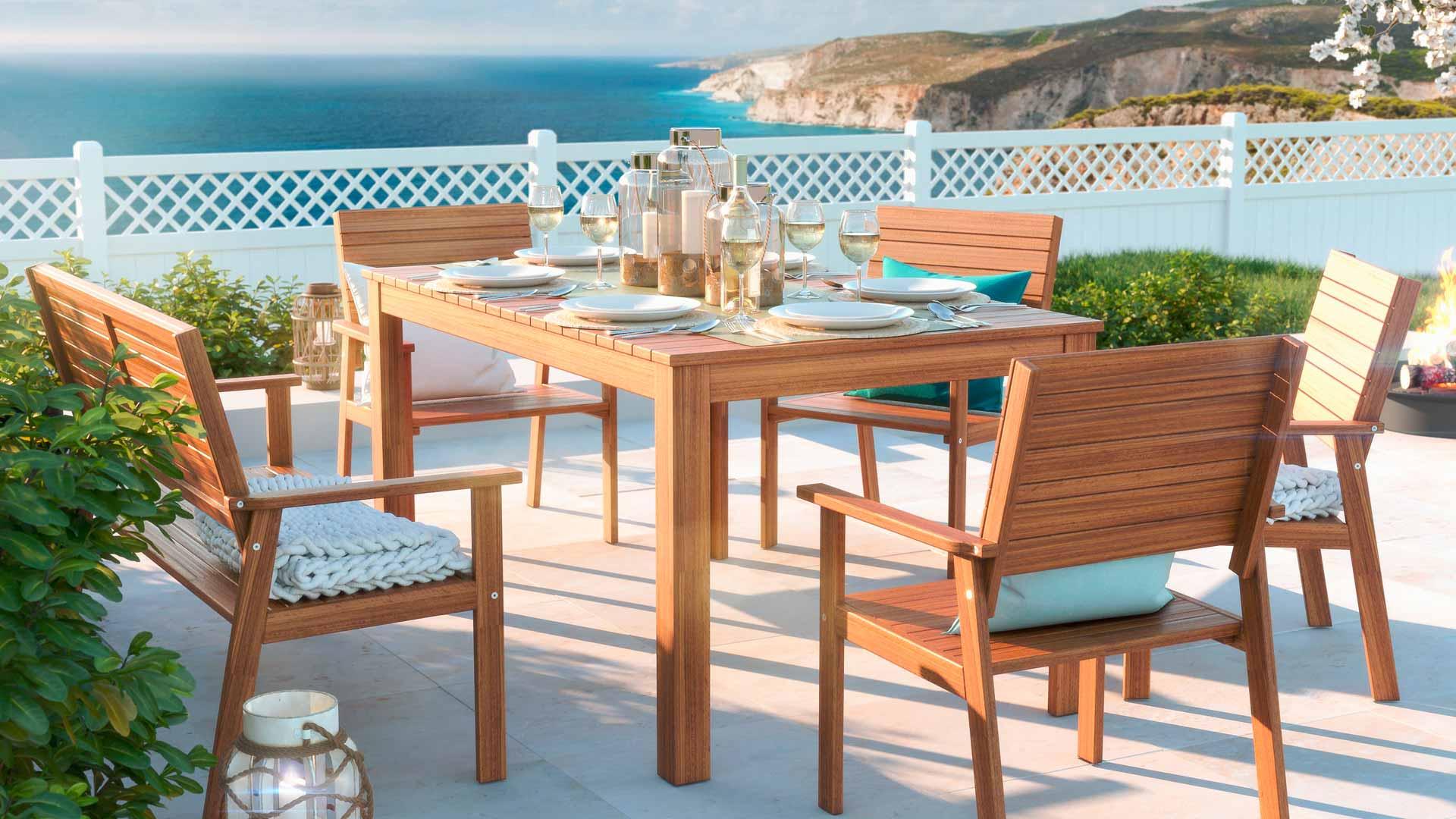 artelia fr ensemble de table et chaises de jardin en eucalyptus milton. Black Bedroom Furniture Sets. Home Design Ideas