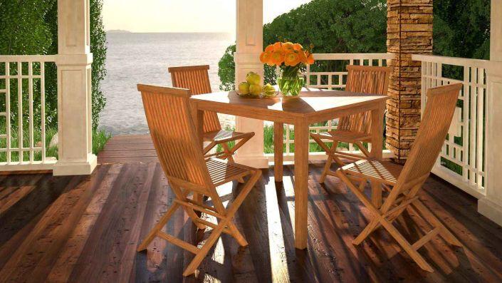 Ensemble table et chaises Naomi M - Bois