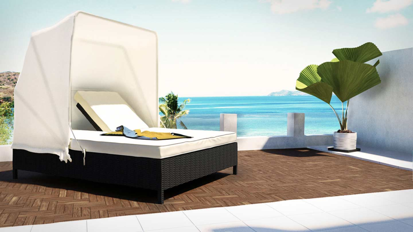 artelia fr bain de soleil double en r sine tress e noralda. Black Bedroom Furniture Sets. Home Design Ideas