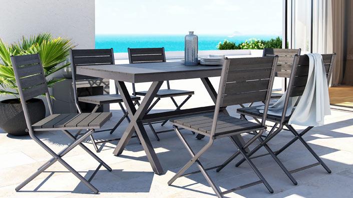 Pimeria - Table et chaises en bois composite