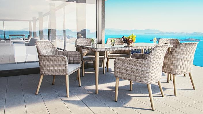 Savannah - Ensemble table et chaises résine tressée