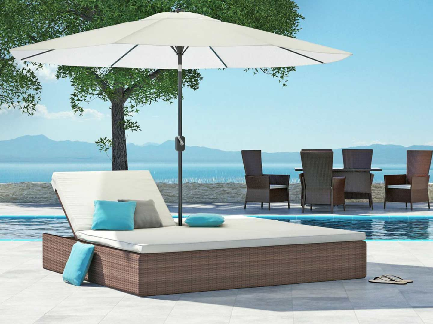 artelia fr bain de soleil double avec parasol sunrise. Black Bedroom Furniture Sets. Home Design Ideas