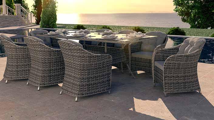 Velia XL - Ensemble table et chaises résine tressée