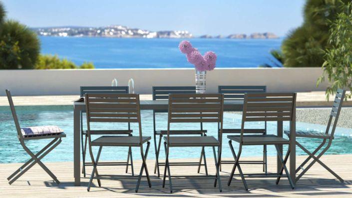 Yvonia - Table et chaises en bois composite