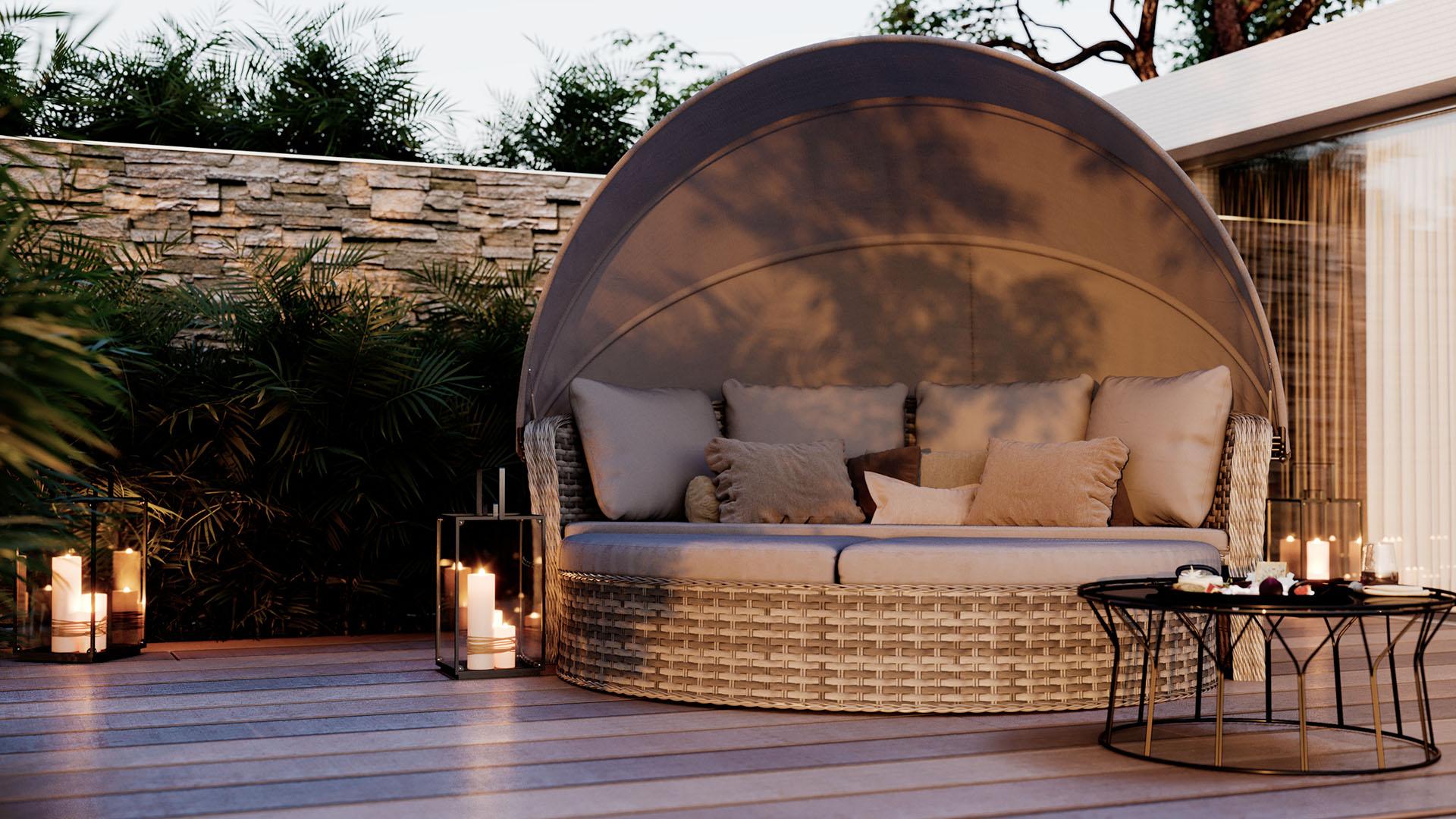 L'été, le soleil et l'îlot de luxe Oceana sur la terrasse de votre maison...