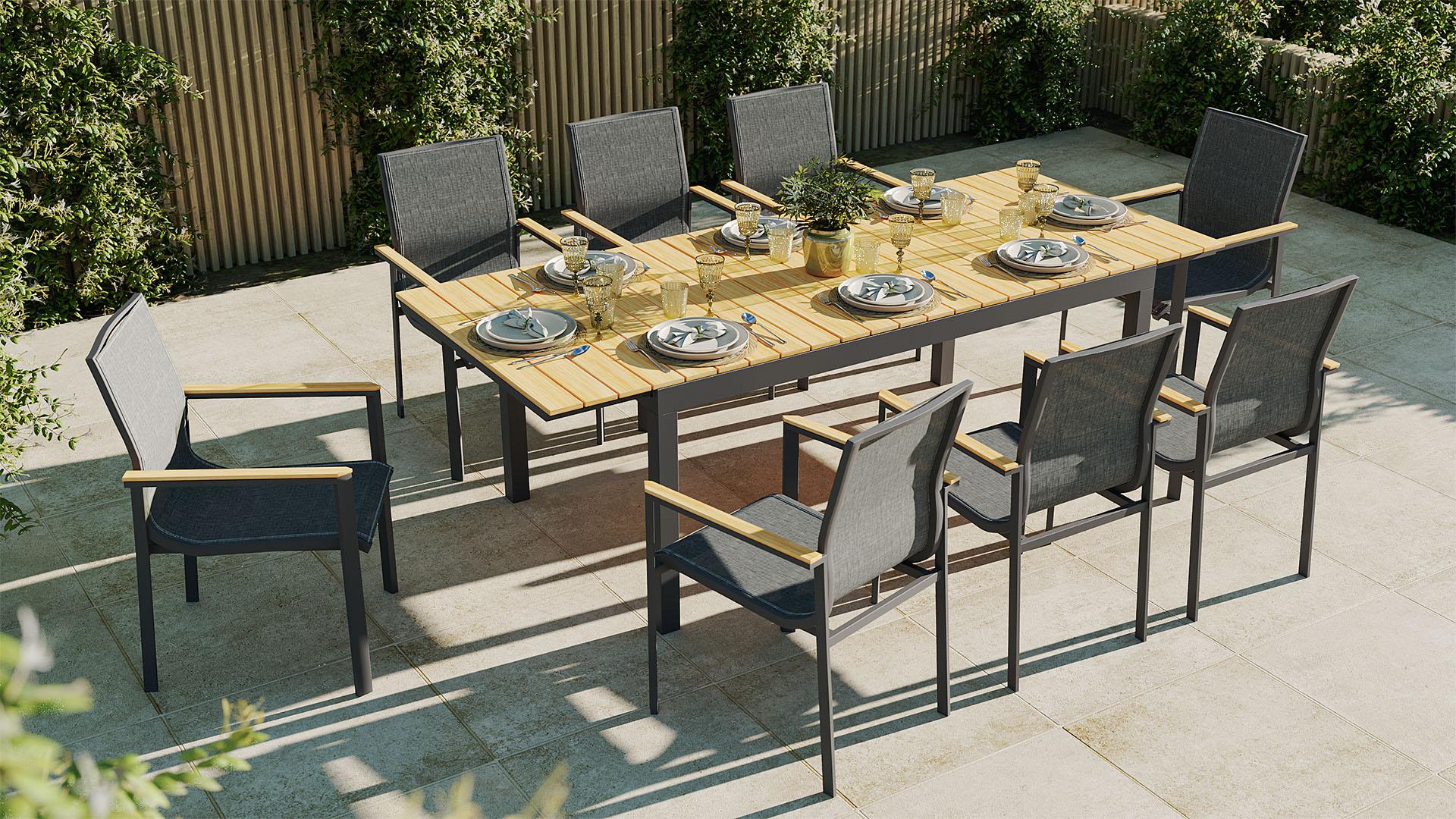 Ensemble CONGO XL avec table à rallonge: chic et exotique